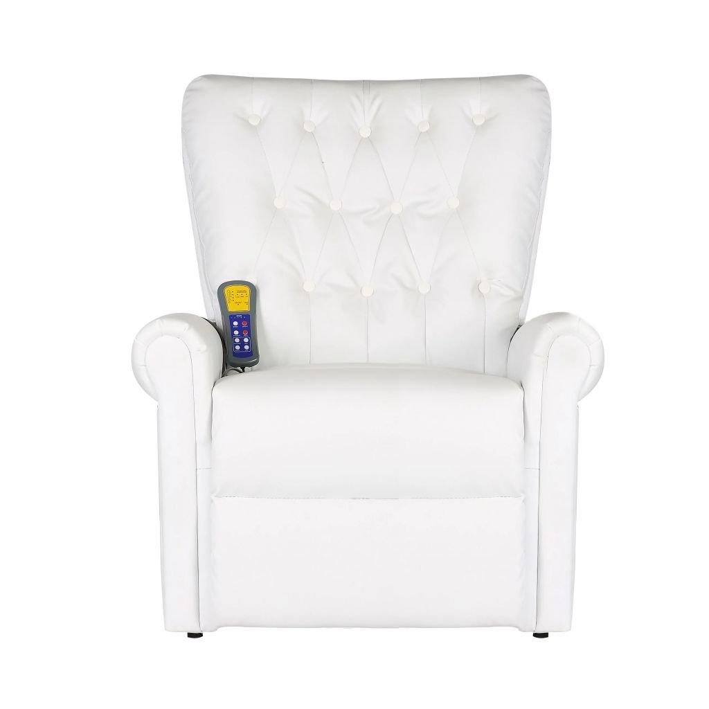 Vislone Poltrona Massaggiante Relax Chesterfield Elettrica Reclinabile Moderna in Pelle Artificiale Nera//Bianca 78 x 94 x 91 cm