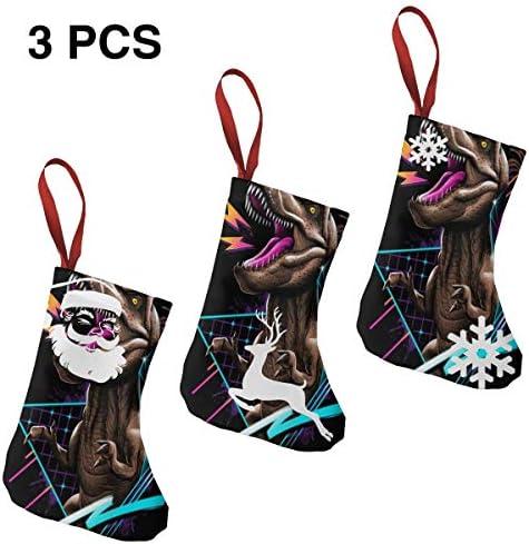 クリスマスの日の靴下 (ソックス3個)クリスマスデコレーションソックス ティラノサウルス レックス クリスマス、ハロウィン 家庭用、ショッピングモール用、お祝いの雰囲気を加える 人気を高める、販売、プロモーション、年次式