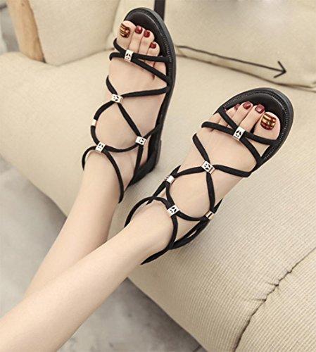 Xia Jiping Unterseite Sandalen weibliche Studenten flache Schuhe mit dünnen Beuteln mit dem Fischkopf mit römischen Sandalen black