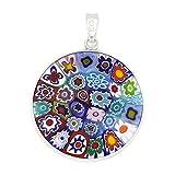 """GlassOfVenice Murano Glass Millefiori Pendant """"Multicolor"""" in Silver Frame 1"""""""