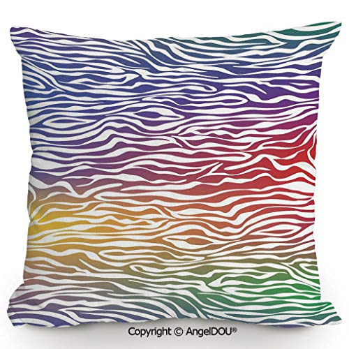 (AngelDOU Square Cotton Linen Pillow Cushion,Abstract Zebra Skin Pattern Geometric Horizontal Lines Stripes Illustration Decorative,Living Room Sofa car Bed Back Cushion Pillowcase.17.7x17.7 inches)