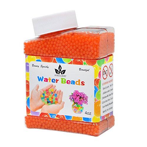 Orange Flower Beads - AINOLWAY High Elastic Water Beads Gel Pearls Jelly Crystal Soil for Kids Sensory toys or Vase Fillers 4oz Almost 15,000 Pcs (ORANGE)