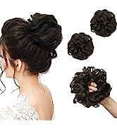 SARLA Black Brown Scrunchies Bun Extensions Synthetic Updo Messy Bun Hair Piece for Women Girls 2...