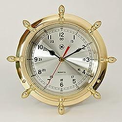 Wall Clocks - Brass Ships Wheel Wall Clock - Nautical Decor - Captains Wheel Wall Clock
