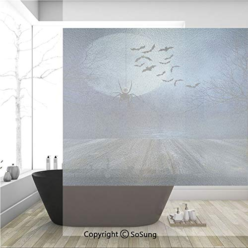 Rusty Orchid - 3D Decorative Privacy Window Films,Misty Lake Scene Rusty Wooden Deck Spider Eyeball and Bats Moonlight,No-Glue Self Static Cling Glass Film for Home Bedroom Bathroom Kitchen Office 36x36 Inch