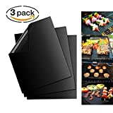 KKCITE BBQ Grill Mat Set of 3 Non Stick Grill, Baking Mats Reusable and Easy to Clean - Works on Gas, Charcoal, Electric Grill Accessories
