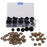 Homyl Black Plastic Safety Eyes with Washers and Box for Dolls Bears Animal Puppet Crafts Accessories - 12-20mm, Pack of 52