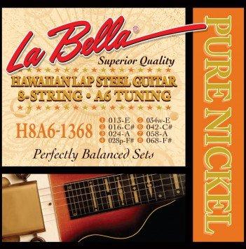 LaBella H8A6-1368 Hawaiian Lap Steel Guitar Pure Nickel - 8-String A6 Tuning 13-68