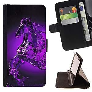 BullDog Case - FOR/LG Nexus 5 D820 D821 / - / glass water horse Pegasus mystical purple /- Monedero de cuero de la PU Llevar cubierta de la caja con el ID Credit Card Slots Flip funda de cuer