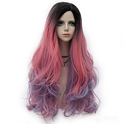 Probeauty Sparkling Collection Lolita Dark Root Mix Color Rainbow Ombre Hair Long Curly Women Cosplay Wigs (Hot Pink mix Blue 31R)