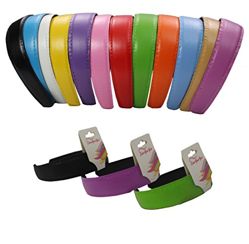 Bright Faux Leather Hard HeadBands- 12 Pack (Wide Faux Leather)