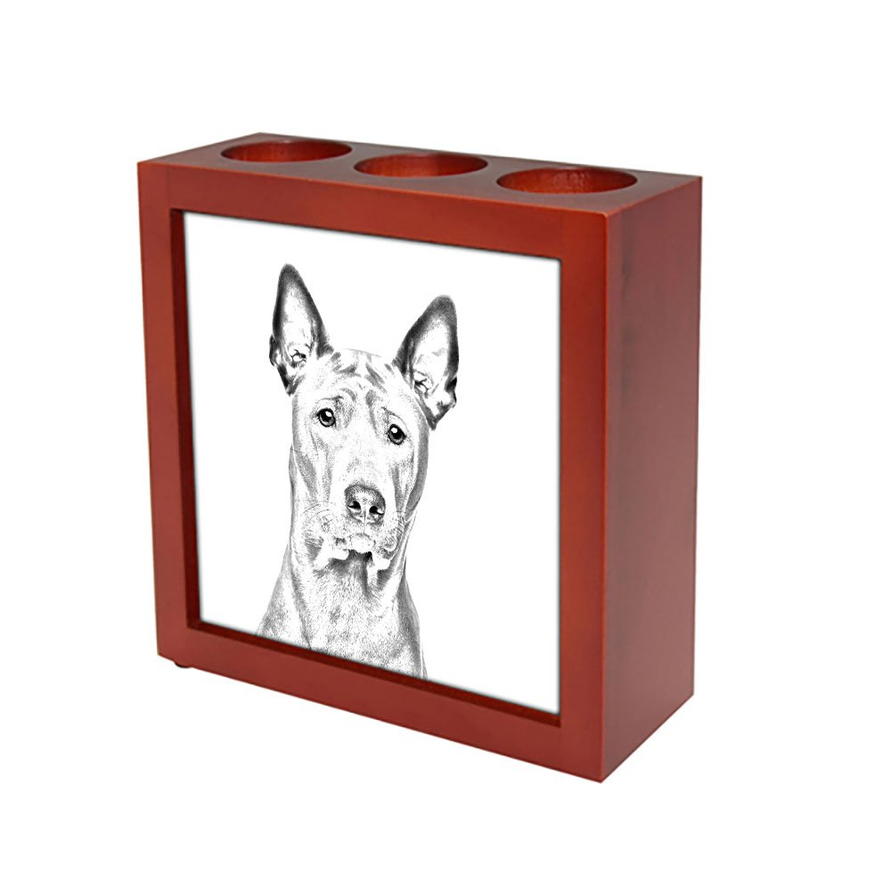 Thai Ridgeback, wooden stand for candles/pens with the image of a dog