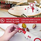 Hot Glue Gun Kit, KeLDE UL Certified Full Size Glue Gun 60 Watts, Includes 20pcs 4x0.44-inch Glue Sticks, with 2-Piece Extra Changeable Fine Tip Nozzles, On/Off Switch and LED Indicator