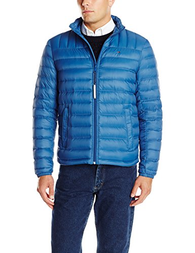 Tommy Hilfiger Men's Packable Down Jacket, Royal Blue, Large