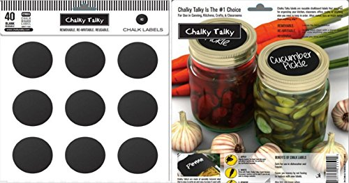 Chalky Talky 40 Regular Mouth Chalkboard Labels For Mason Jars - Waterproof Reusable Jar Labels