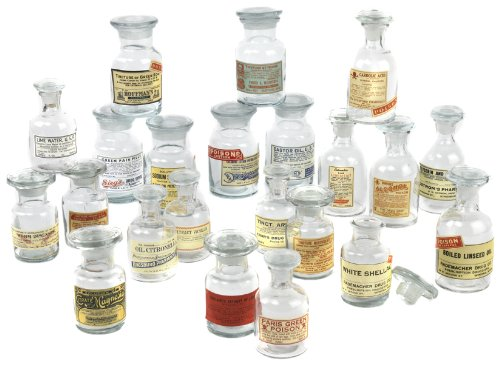 Two's Company 8502-EA Vintage Apothecary Jars Decorative Tabletop (Set of 24)