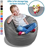 Stuffed Animal Bean Bag Storage Chair in Grey – 2.5ft Large Fill & Chill Space Saving Toy Organizer for Children – For Blankets, Teddy Bears, Clothes & Bedding