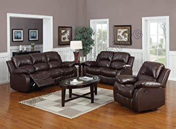 VALENCIA Brown Recliner Leather Sofa Suite 3+2+1 Seater 12 Months Warranty  ENGLAND