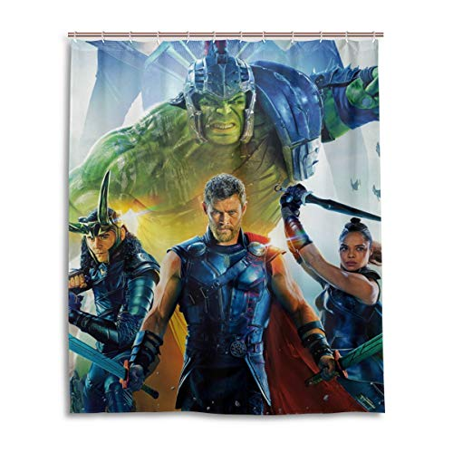 Shower Curtain Thor Ragnarok Loki Hulk 3D Printing Personality Waterproof Resistant Shower Curtains 12 Hooks 60X72 Inch