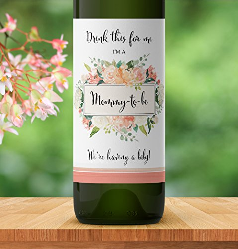 Drink This For Me - I'm a Mommy-To-Be ● SET of 5 ● Pregnancy Announcement Wine Labels, Pregnancy Reveal Wine label, Baby Surprise, Alternative to Pregnancy Announcement Cards WATERPROOF Peach - Aunt Peaches