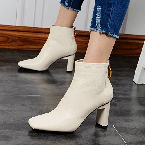 KHSKX-La Moda Británica Hembra Botas Invierno Nuevos Zapatos De Tacon Alto Con Algodon Grueso Terciopelo Zapatos Botas Con Su CálidaTreinta Y SieteBeige
