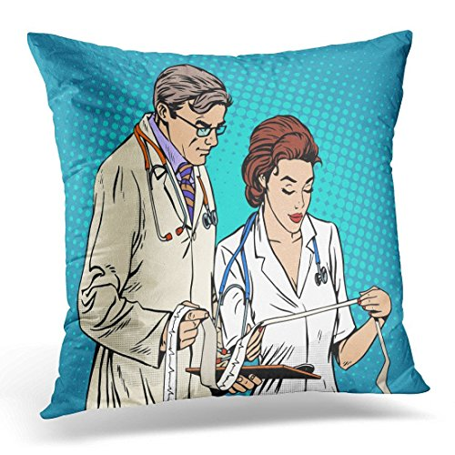 GOOESING Creative Decoration Vintage Doctor and Nurse Looking Cardiogram Pop Retro Style Medicine and Health Heart Disease Comic Pillow Case/Pillow Cover50% Cotton & 50% Polyester 16x16 Inches