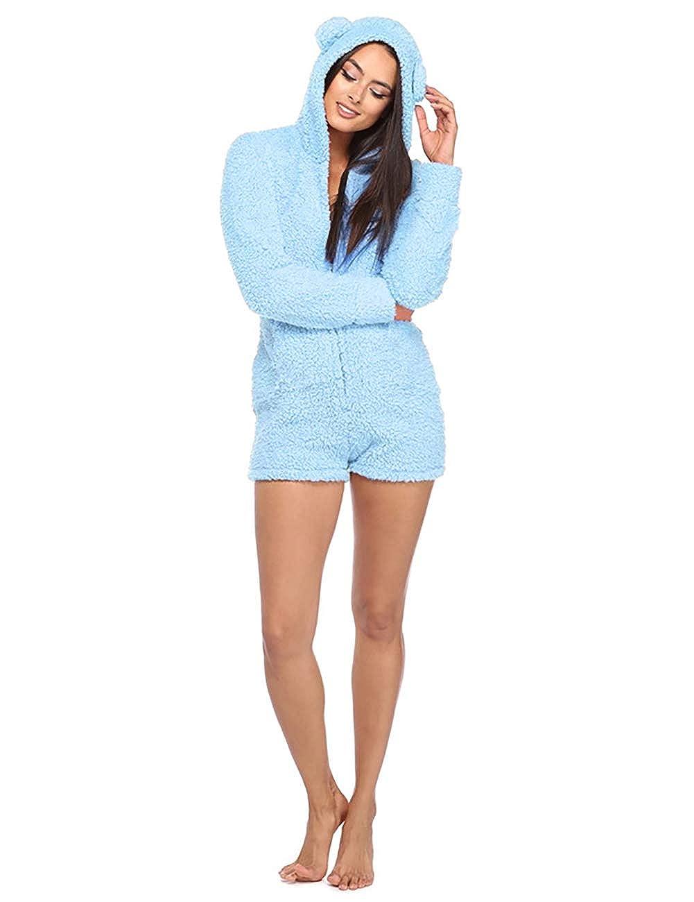 719edf1c0853 Amazon.com  Amiliashp Womens Cute Sherpa Romper Fleece Onesie Pajama One  Piece Zipper Short Hooded Jumpsuit Sleepwear Playsuit (Blue