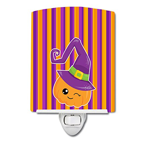 Caroline's Treasures Halloween Pumpkin Ceramic Night Light, Witch, Purple, 6