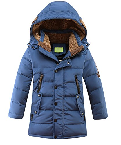 Boys Hooded Winter Jacket - LISUEYNE Boys Kids Winter Hooded Down Coat Puffer Jacket for Big Boys Mid-Long Blue