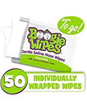 Boogie Wipes Saline Nose Wipes to Go, 50 Individually Wrapped Unscented Boogie Wipes