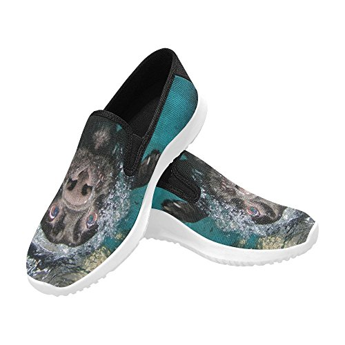 Interestprint Hund I Vatten Kvinna Slip-on Dagdrivaren Skor Duk Mode Sneakers Multi 1