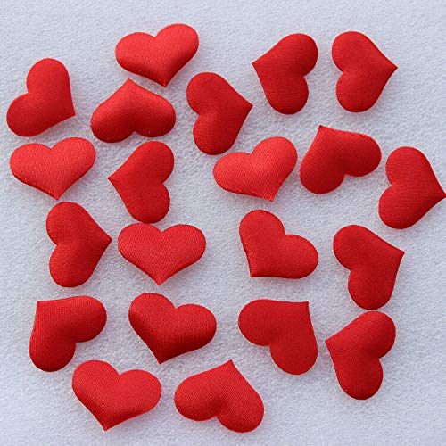 500Pcs /Lot 20x15mm Sweet Heart Shaped Wedding Favors Padded Red Fabric Petal for Bedroom Decor Confetti Supplies