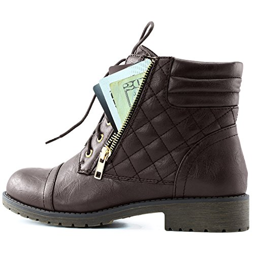 Credit DailyShoes Combat Buckle Brown Quilted Lace Card Pu Exclusive Boots Up Bootie Ankle High Pocket Military Womens wXqwrRPS