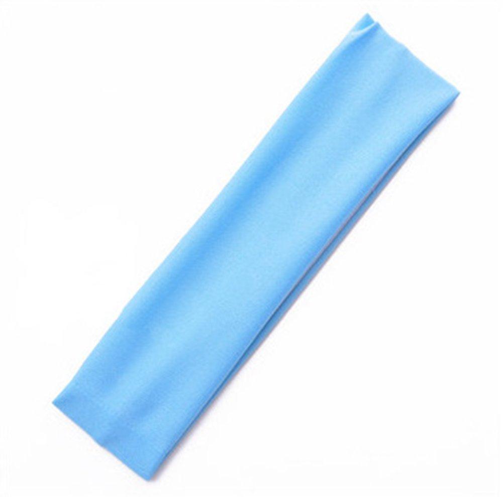 CAOLATOR Sport-Stirnband Weiche Schweiß band Headbands Mä dchen Haar Band Yoga Haarband Monochrome Elastisches Stirnband 2 Stü cke Blau