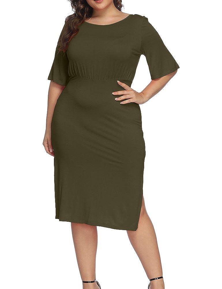 24f127f52eb Allegrace Women Plus Size Half Sleeve Open Back Cocktail Midi Dress Split Scoop  Neck Party Dresses at Amazon Women s Clothing store