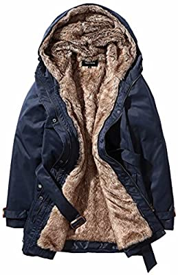 Beinia Valuker Women's Winter Trench Coats Detachable Liner Down Hooded Fur Parkas