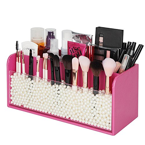 JackCubeDesign Makeup Organizer - Premium Quality - with White Pearls for Brush Holder and 3 Compartments (Pink, 11.8 x 4.9 x 5.3 inches)-:MK284B