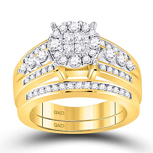 Jewels By Lux 14kt Yellow Gold Womens Princess Diamond Bridal Wedding Engagement Ring Band Set 1.00 Cttw In Invisible Setting (I1-I2 clarity; G-H color) Ring Size 7