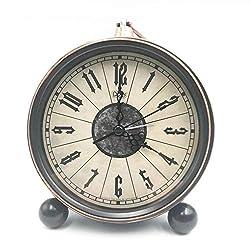 JUSTUP 5.5 Classic Retro Clock, European Style Vintage Silent Desk Alarm Clock Non Ticking Quartz Movement Battery Operated, HD Glass Lens, Easy to Read (SZ02)