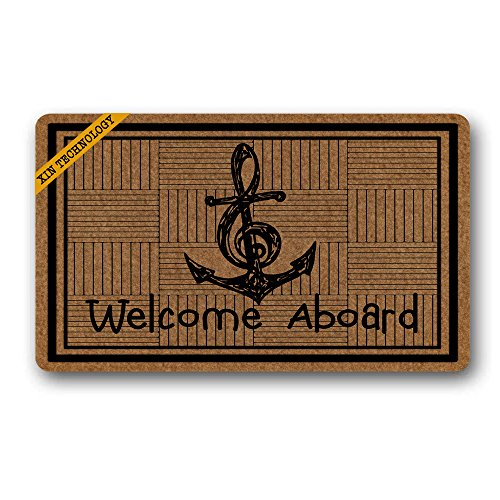 Artsbaba Anchor Doormat Welcome Aboard Door Mat Rubber Non-Slip Entrance Rug Floor Mat Durable Home Indoor Mat 30 x 18 - Welcome Aboard Mat