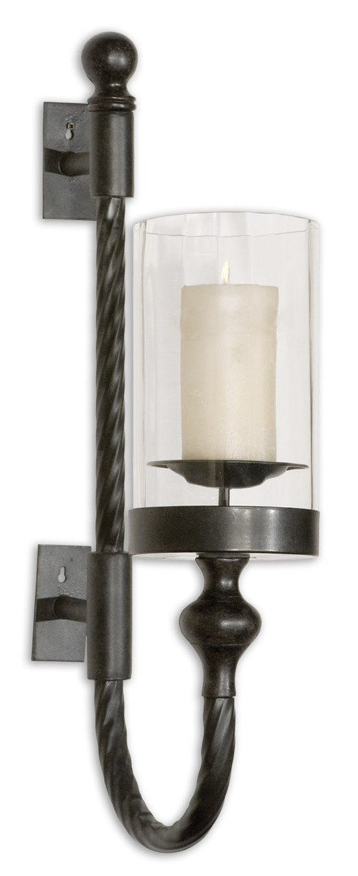Colonial Black Iron Wall Sconce | Twisted Metal Hurricane Candle Holder by Intelligent Design