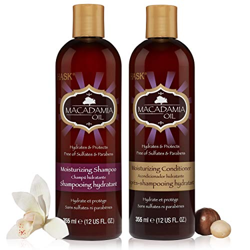 HASK MACADAMIA OIL Shampoo and Conditioner Moisturizing for all hair types, color safe, gluten free, sulfate free, paraben free - 1 Shampoo and 1 Conditioner Set