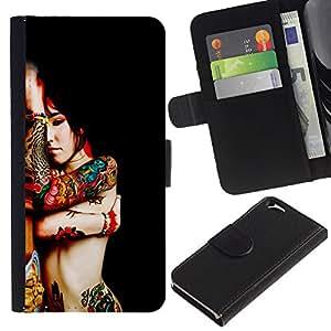 """Apple (4.7 inches!!!) iPhone 6 , la tarjeta de Crédito Slots PU Funda de cuero Monedero caso cubierta de piel ("""" Body Art Tattoo Woman Red Asian Colorful Nude"""")"""