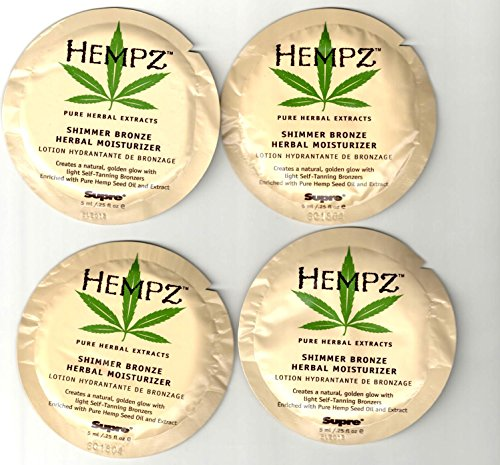 - Hempz Shimmer Bronze Pure Herbal Moisturizer - 12 Sample Packs .25oz