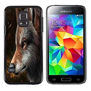 LECELL -- Funda protectora / Cubierta / Piel For Samsung Galaxy S5 Mini, SM-G800, NOT S5 REGULAR! -- The Majestic Brown Red Wolf --