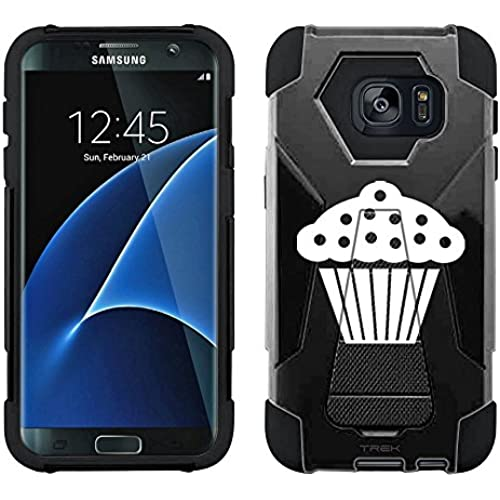 Samsung Galaxy S7 Edge Hybrid Case Silhouette Cup Cake on Black 2 Piece Style Silicone Case Cover with Stand for Samsung Galaxy S7 Edge Sales