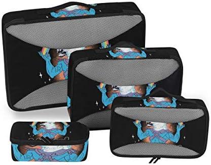 レインボーマジックユニコーン荷物パッキングキューブオーガナイザートイレタリーランドリーストレージバッグポーチパックキューブ4さまざまなサイズセットトラベルキッズレディース