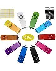 Uflatek 10 Pack 8GB Penna USB Girevole Chiavetta USB Tappo di Metallo Pendrive Verde Flash Drives Simpatiche USB Stick 2.0 Archiviazione Dati per Regalo