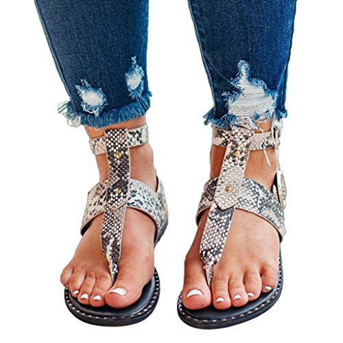 (Sandals Flats for Women,✔ Hypothesis_X ☎ Summer Bohemian Sandals Open Toe Snake Pattern Buckle Roman Sandals White)