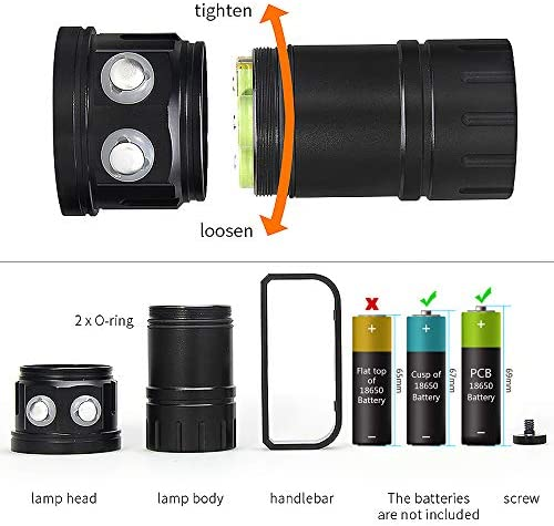 SecurityIng 7 Modes 80m Scuba Diving Underwater Torch, 120 Wide Beam Angle Waterproof 18000Lm 15x White + 6x Red + 6x Blue Light Flashlight(Battery Not Included)